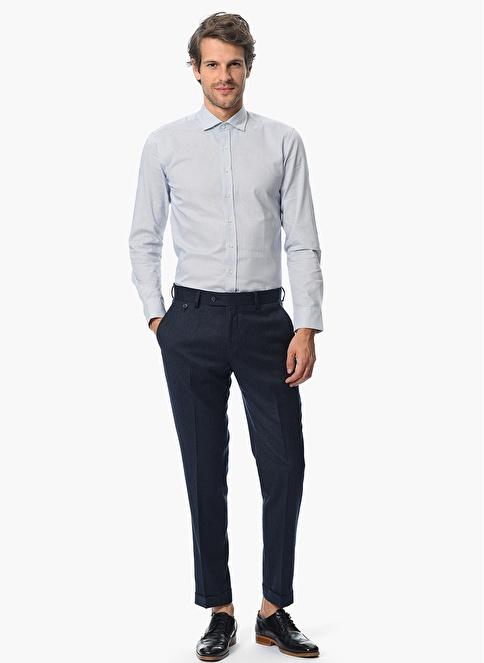NetWork Slim Fit Desenli Gömlek Lacivert